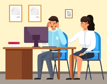 Man and woman sitting at a table with computer upset business people in sad feeling and emotional concept. A colleague consoles a frustrated employee. Problems at work and in career, staff reduction