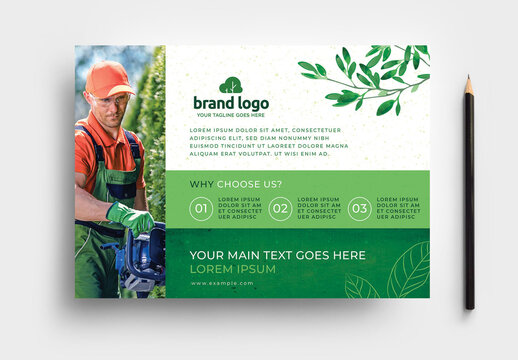 Green Gardener Garden Care Flyer For Landscaping Service