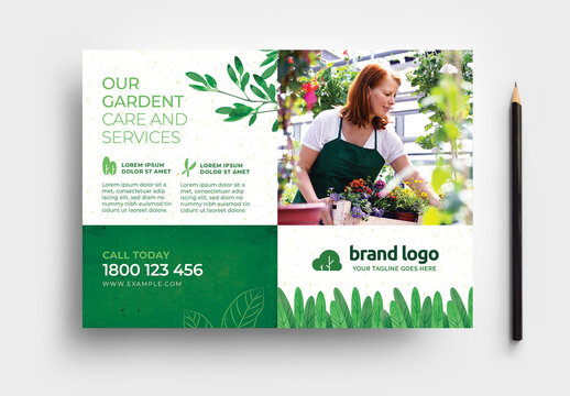 Green Gardener Garden Care Service Layout with Leaves & Grass