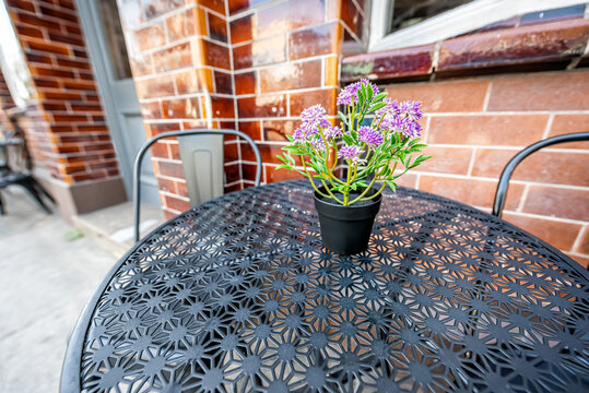 Closeup wide angle view of empty table outside restaurant cafe metal chair on sidewalk street with purple flowers flowerpot and nobody