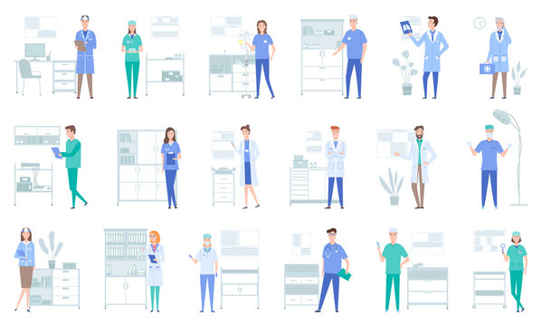 Set of illustrations about doctors work with equipment and instruments. Medical services concept. Patient health research and treatment. Provision of physician services in a medical institution