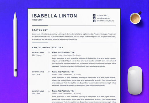 Minimal Resume and Cover Letter and Reference Page Set