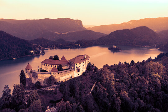 Aerial view of Bled Castle overlooking Lake Bled in Slovenia, Europe.