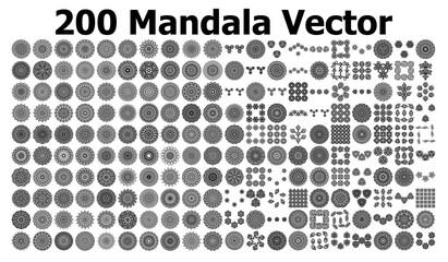 various mandala collections - 200. Ethnic Mandala ornament. Round pattern set.