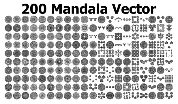 various mandala collections - 200. Ethnic Mandala ornament. Round pattern set.