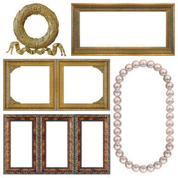 Set of golden, wooden and pearl frames for paintings, mirrors or photo isolated on white background