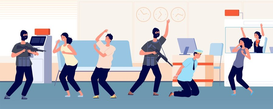Robbery. Bank criminals, hostages and thieves, afraid characters. Armed men in masks and with weapons attacked men and women vector illustration. Robbery in bank, crime with hostage
