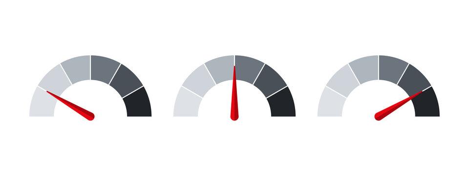 Measuring signs. Barometer sign, performance symbol. mood evaluation. Flat style. Vector illustration