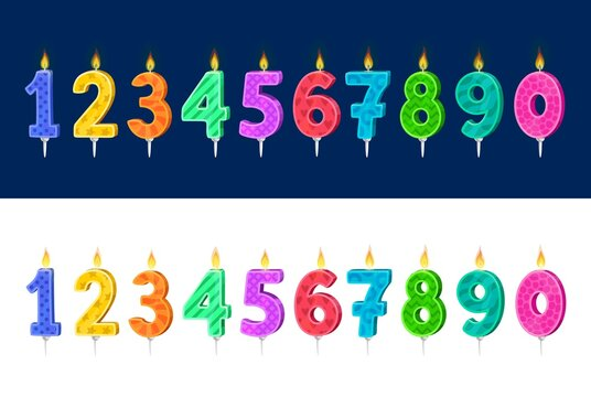Candles for kids birthday holiday cake cartoon vector set. Child birthday party celebration number candles with colorful patterns and fire, anniversary holiday cake or pie decoration collection