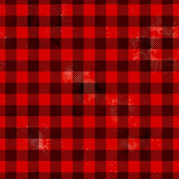 Buffalo plaid watercolor lumberjack tartan seamless pattern. Textile seamless background. Geometric square checks, black stripes on red backdrop for fabric, decoration, scrapbooking, digital paper