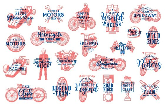Motorsport racing and biker club lettering icons set. Retro chopper, speedway and motocross motorcycles, racer in helmet, modern and vintage formula one car, engine piston, wire-spoked wheel vector