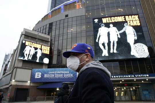 A fan is seen outside Madison Square Garden to attend a Knicks game amid the coronavirus disease (COVID-19) pandemic in the Manhattan borough of New York City, New York
