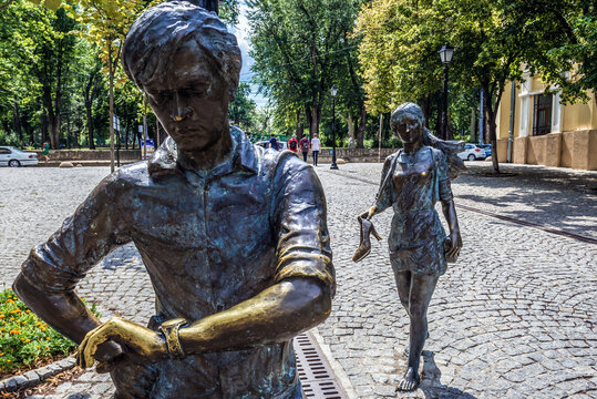 Chisinau, Moldova - July 17,2019: Statue of Lovers on Eugen Doga street in Chisinau city, Moldova