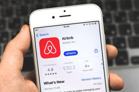 Kharkov, Ukraine - February 22, 2021: Airbnb logo of application on App Store, Apple iPhone screen