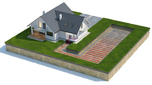 Heat Pump, ground source, 3d illustration