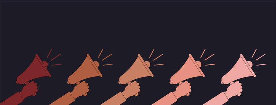 black lives matter. stop racism poster.banner blm. racial tolerance web banner. black lives matter banner. different skin of people. racial discrimination dark background sign multinational society.