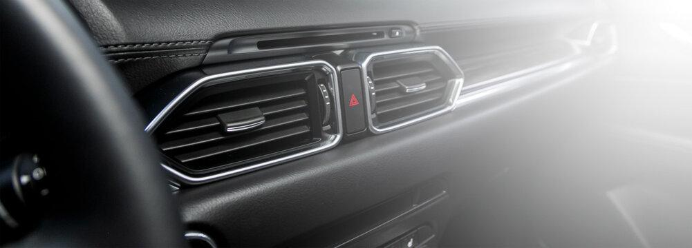 close up deflector,  car ventilation system. Car air conditioner .