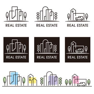シンプルな線画の不動産・住宅ロゴセット