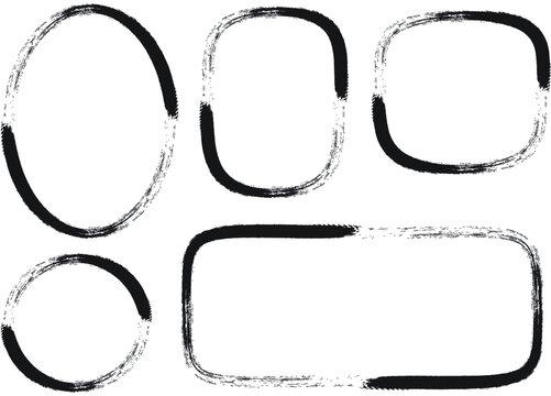 vector black and white border frame background set