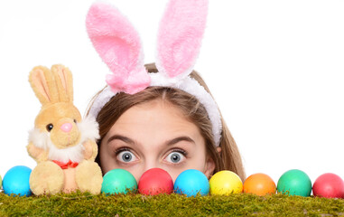 Easter bunny rabbit girl with ears eggs hunt. Isolated on white background. Festive holiday...