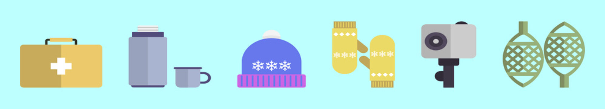 set of winter outdoor kit cartoon icon design template with various models. vector illustration isolated on blue background
