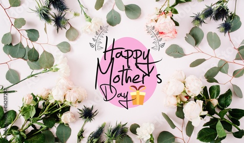 Happy mother's day with leaf and flowers very cool