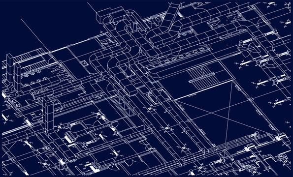 BIM air ducts services design 3d illustration blueprint vector