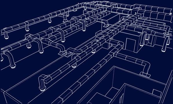 architectural illustration blueprint of HVAC ductwork system in BIM vector