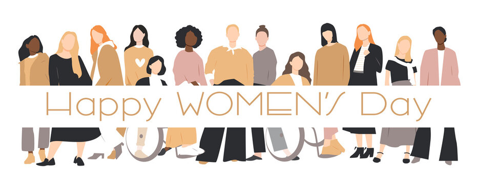 Women's Day card. Women of different ethnicities stand side by side together. 8 March International women's day. Flat vector illustration.