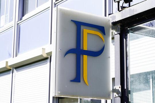 finances public  text f logo agency sign taxes on office building