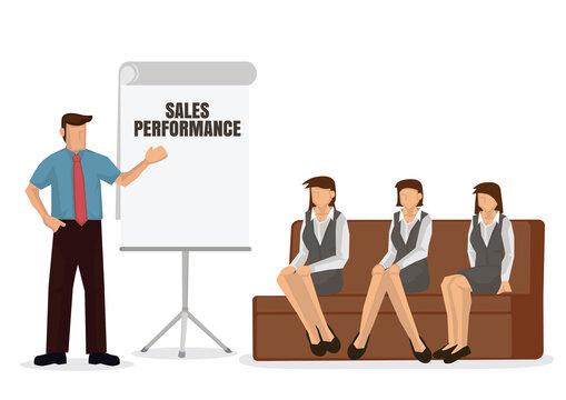 Business coach speaker giving presentation.