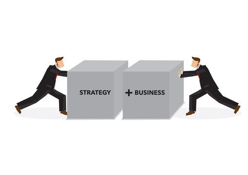 Businessmen pushing two blocks together with strategy and business.
