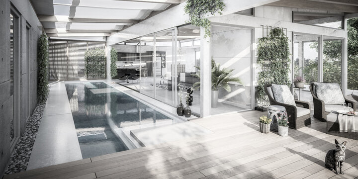 Luxury Residential Villa Terrace Design - panoramic black and white 3d visualization