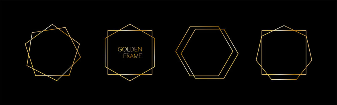 Set of golden vector frames for invitations, luxury decor art deco style. Abstract geometric thin line hexagon borders