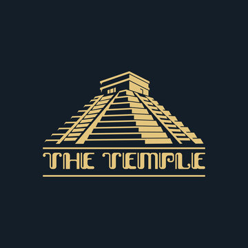 The temple illustration logo abstract flat