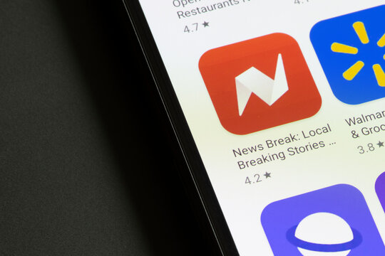Portland, OR, USA - Feb 23, 2021: News Break app icon is seen on a Google Pixel smartphone. News Break an AI-powered news aggregator that delivers relevant local news.