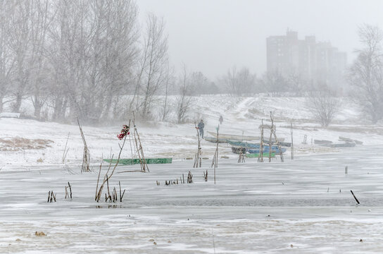 Panorama of the frozen tributary of the Danube, covered with snow. Vojvodina, Novi Sad, Serbia.