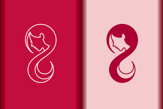 International Women's Day logo minimal design element.Creative 8 March symbol concept with stylish pink.Beautiful woman face and long hair portrait silhouette for Spa,fashion,hairdressing icon vector.