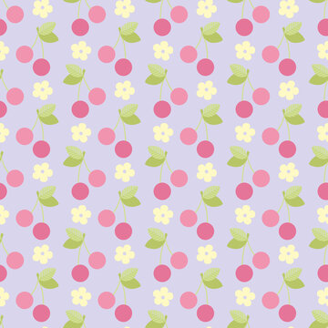 Cherry flat pink with green leaves on a purple background. Seamless simple berry background. Botanical pastel texture for fabric, packaging, textile, wallpaper, clothing. Scalable to any size, vector