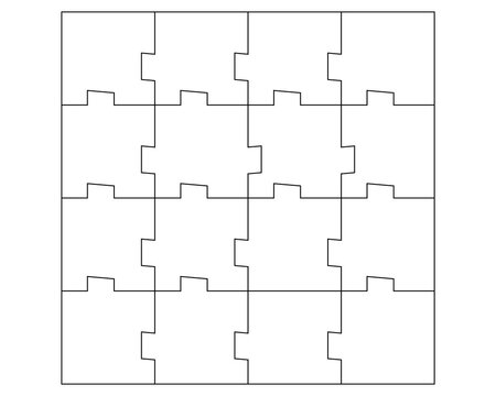 Unusual Abstract Blank Rectangle Jigsaw Puzzle with 16 pieces. Simple line art style for printing and web. Geometric triangle style. Stock vector illustration isolated