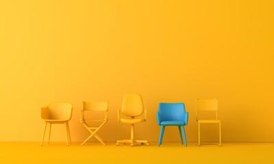 Fototapeta Team leadership. Single chair stands of from the rest. 3D rendering obraz