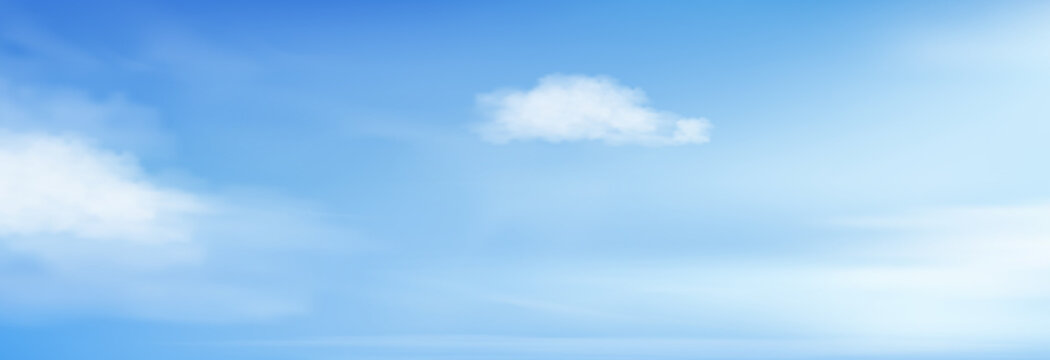 Blue sky with altostratus clouds background,Vector Cartoon sky with cirrus clouds, Concept all seasonal horizon banner in sunny day spring and summer in the morning. Vector illustration horizon