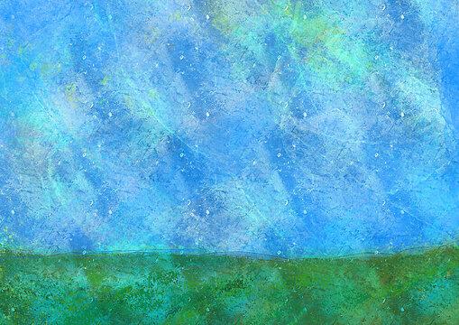 水彩 空と芝生の丘 ペイント 背景素材 インクの滲み