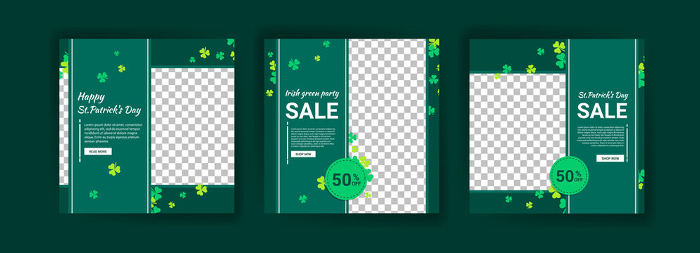 Collections of social media post templates for St.Patrick's Day, sales promotions on St. Patrick's day and have a lucky day