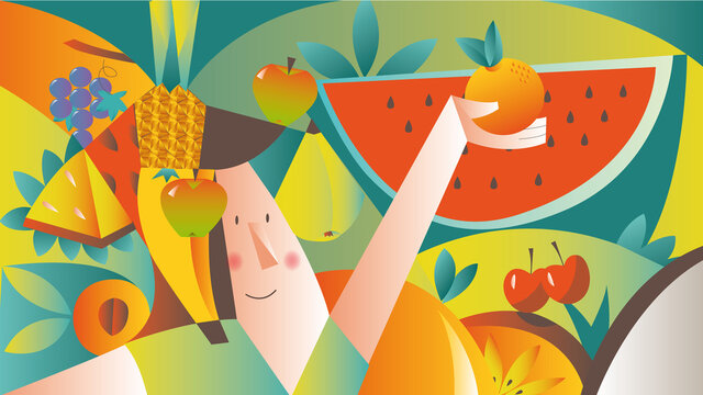 fruit show, vector illustration of woman in colorful background composition