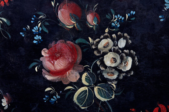 Pink roses, white and blue flowers bunch painted on black background