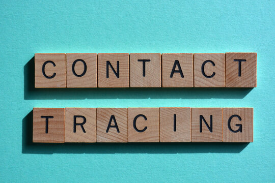 Contact Tracing, words in wooden alphabet letters