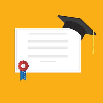 Graduation cap and diploma . Flat style vector illustration