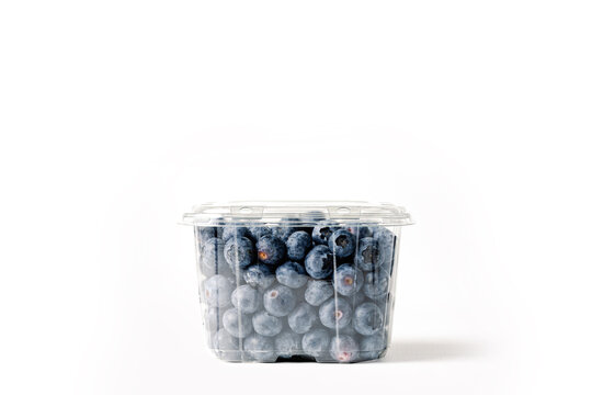 transparent blueberry jar, on white background, with closed lid, front view