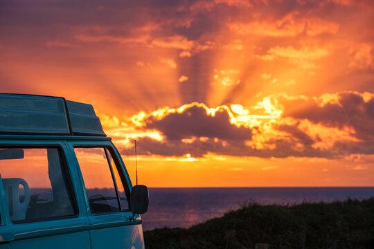 campervan at sunset